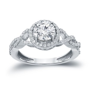 Gold 1 3/8ct TDW Round Diamond Halo Engagement Ring - Custom Made By Yaffie™