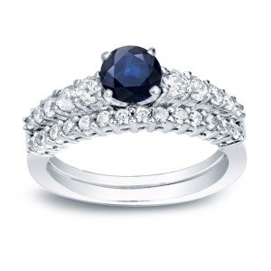Gold 1/2ct Blue Sapphire and 1/2ct TDW Round Diamond Bridal Ring Set - Custom Made By Yaffie™