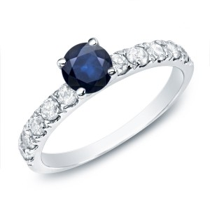 Gold 1/2ct Blue Sapphire and 1/2ct TDW Round Diamond Enagagement Ring - Custom Made By Yaffie™