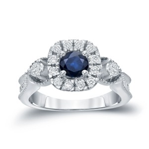 Gold 1/2ct Blue Sapphire and 1/2ct TDW Round Diamond Halo Engagement Ring - Custom Made By Yaffie™