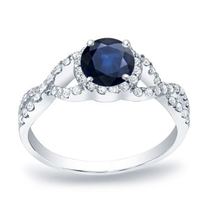 Gold 1/2ct Blue Sapphire and 1/3ct TDW Round Diamond Engagement Ring - Custom Made By Yaffie™