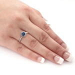 Gold 1/2ct Blue Sapphire and 1/3ct TDW Round Diamond Halo Engagement Ring - Custom Made By Yaffie™