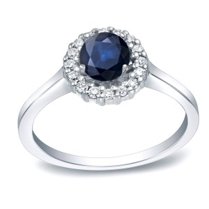 Gold 1/2ct Blue Sapphire and 1/4ct Round Diamond Halo Engagement Ring - Custom Made By Yaffie™