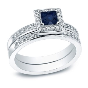 Gold 1/2ct Blue Sapphire and 1ct TDW Halo Engagement Ring - Custom Made By Yaffie™