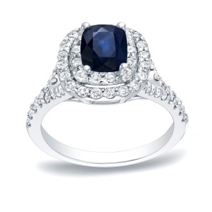 Gold 1/2ct Blue Sapphire and 3/4ct TDW Diamond Engagement Ring - Custom Made By Yaffie™