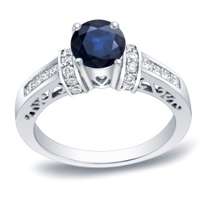 Gold 1/2ct Blue Sapphire and 3/4ct TDW Round Diamond Engagement Ring - Custom Made By Yaffie™