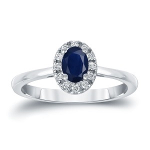 Gold 1/2ct Oval Cut Blue Sapphire and 1/10ct TDW Diamond Halo Engagement Ring - Custom Made By Yaffie™