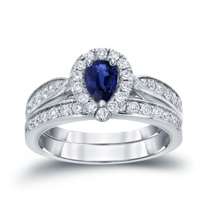 Gold 1/2ct Pear-Shaped Blue Sapphire and 1/2ct TDW Diamond Bridal Ring Set - Custom Made By Yaffie™