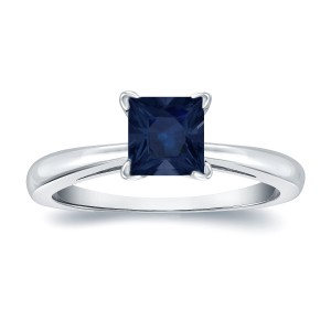 Gold 1/2ct Princess Cut Blue Sapphire Solitaire Ring - Custom Made By Yaffie™