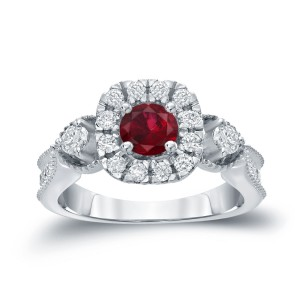 Gold 1/2ct Ruby and 1/2ct TDW Round Diamond Halo Engagement Ring - Custom Made By Yaffie™