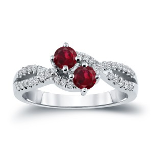 Gold 1/2ct Ruby and 1/4ct TDW 2-Stone Round Diamond Engagement Ring - Custom Made By Yaffie™
