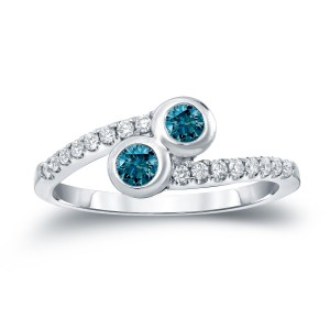 Gold 1/2ct TDW 2-Stone Round Cut Blue Diamond Engagement Ring - Custom Made By Yaffie™
