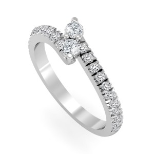 Gold 1/2ct TDW 2-Stone Round Cut Diamond Ring - Custom Made By Yaffie™