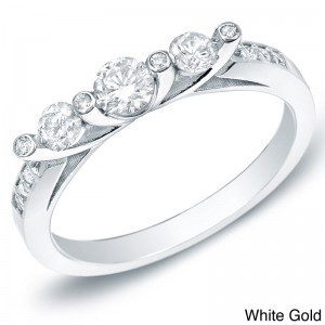 Gold 1/2ct TDW 3-stone Diamond Trellis Engagement Ring - Custom Made By Yaffie™