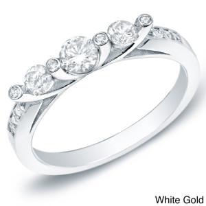 Gold 1/2ct TDW 3-stone Diamond Trellis Engagement Ring - Custom Made By Yaffie™