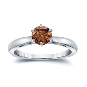 Gold 1/2ct TDW 6-Prong Round Cut Brown Diamond Solitaire Engagement Ring - Custom Made By Yaffie™