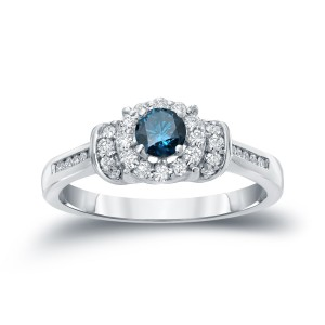 Gold 1/2ct TDW Blue Diamond Engagement Ring - Custom Made By Yaffie™