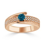 Gold 1/2ct TDW Blue Round Diamond Engagement Ring - Custom Made By Yaffie™