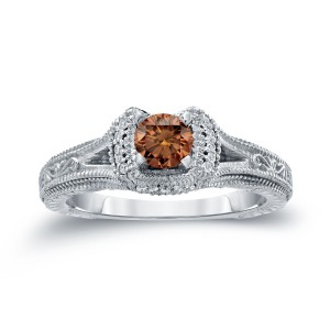 Gold 1/2ct TDW Brown Round Diamond Engagement Ring - Custom Made By Yaffie™