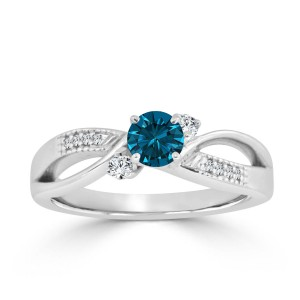 Gold 1/2ct TDW Bypass Blue Diamond Engagement Ring - Custom Made By Yaffie™