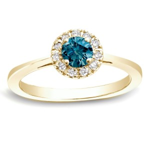 Gold 1/2ct TDW Round Blue Diamond Halo Engagement Ring - Custom Made By Yaffie™
