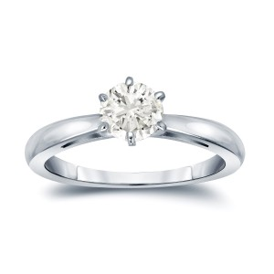 Gold 1/2ct TDW Round-Cut Diamond 6-Prong Solitaire Engagement Ring - Custom Made By Yaffie™