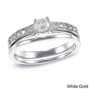 Gold 1/2ct TDW Round Diamond Bridal Ring Set - Custom Made By Yaffie™