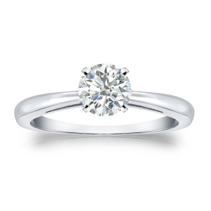 Gold 1/2ct TDW Round-cut Diamond Solitaire Engagement Ring - Custom Made By Yaffie™