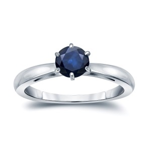 Gold 1/3ct 6-Prong Round Cut Blue Sapphire Solitaire Engagement Ring - Custom Made By Yaffie™