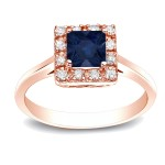 Gold 1/3ct Blue Sapphire and 1/5ct TDW Diamonds Ring - Custom Made By Yaffie™