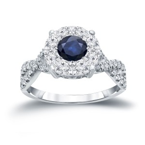 Gold 1/3ct Blue Sapphire and 3/4ct TDW Cluster Diamond Engagement Ring - Custom Made By Yaffie™