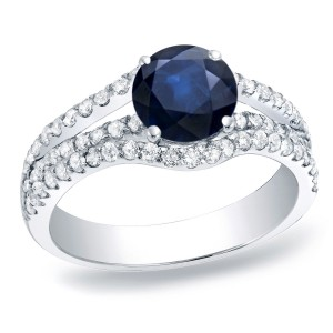 Gold 1/3ct Blue Sapphire and 3/4ct TDW Round Diamond Engagement Ring - Custom Made By Yaffie™