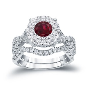 Gold 1/3ct Ruby and 7/8ct TDW Cluster Diamond Braided Bridal Ring Set - Custom Made By Yaffie™
