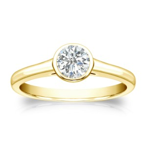 Gold 1/3ct TDW Round Diamond Solitaire Bezel Engagement Ring - Custom Made By Yaffie™