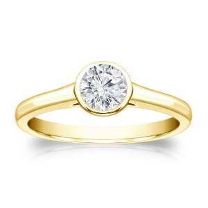 Gold 1/3ct TDW Round-cut Diamond Solitaire Bezel Engagement Ring - Custom Made By Yaffie™
