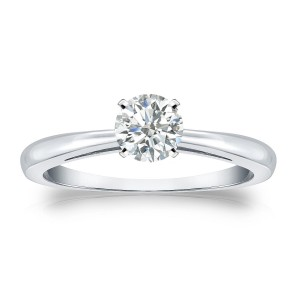 Gold 1/3ct TDW Round-cut Diamond Solitaire Engagement Ring - Custom Made By Yaffie™