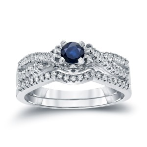 Gold 1/4ct Blue Sapphire and 1/4ct TDW Diamond Braided Bridal Ring Set - Custom Made By Yaffie™