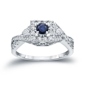 Gold 1/4ct Blue Sapphire and 2/5ct TDW Diamond Engagement Ring - Custom Made By Yaffie™