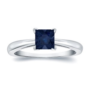 Gold 1/4ct Princess Cut Blue Sapphire Solitaire Ring - Custom Made By Yaffie™
