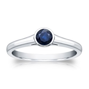 Gold 1/4ct Round-Cut Blue Sapphire Solitaire Ring - Custom Made By Yaffie™