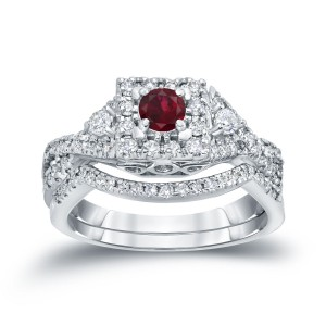 Gold 1/4ct Ruby and 1/2ct TDW Diamond Braided Bridal Ring Set - Custom Made By Yaffie™