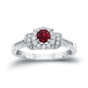 Gold 1/4ct Ruby and 1/4ct TDW Diamond Bridal Ring Set - Custom Made By Yaffie™