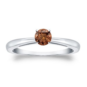 Gold 1/4ct TDW 4-Prong Round Cut Brown Diamond Solitaire Engagement Ring - Custom Made By Yaffie™