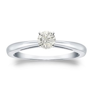 Gold 1/4ct TDW Diamond Solitaire Engagement Ring - Custom Made By Yaffie™