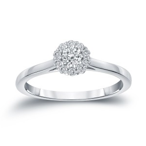 Gold 1/4ct TDW Round Diamond Halo Engagement Ring - Custom Made By Yaffie™