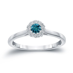 Gold 1/4ct TDW Round-cut Blue Diamond Halo Engagement Ring - Custom Made By Yaffie™