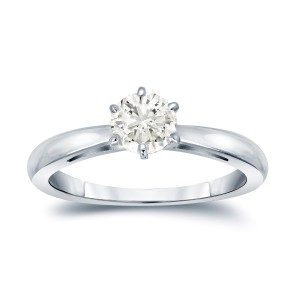 Gold 1/4ct TDW Round-cut Diamond 6-prong Solitaire Engagement Ring - Custom Made By Yaffie™