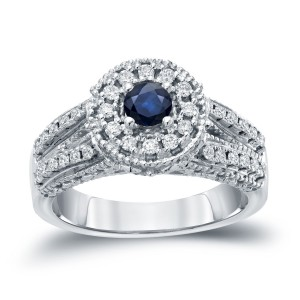 Gold 1/5ct Blue Sapphire and 1/2ct TDW Round Diamond Halo Engagement Ring - Custom Made By Yaffie™