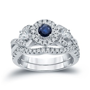 Gold 1/5ct Blue Sapphire and 3/5ct TDW Diamond Braided Bridal Ring Set - Custom Made By Yaffie™