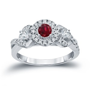 Gold 1/5ct Ruby and 1/2ct TDW Diamond Engagement Ring - Custom Made By Yaffie™